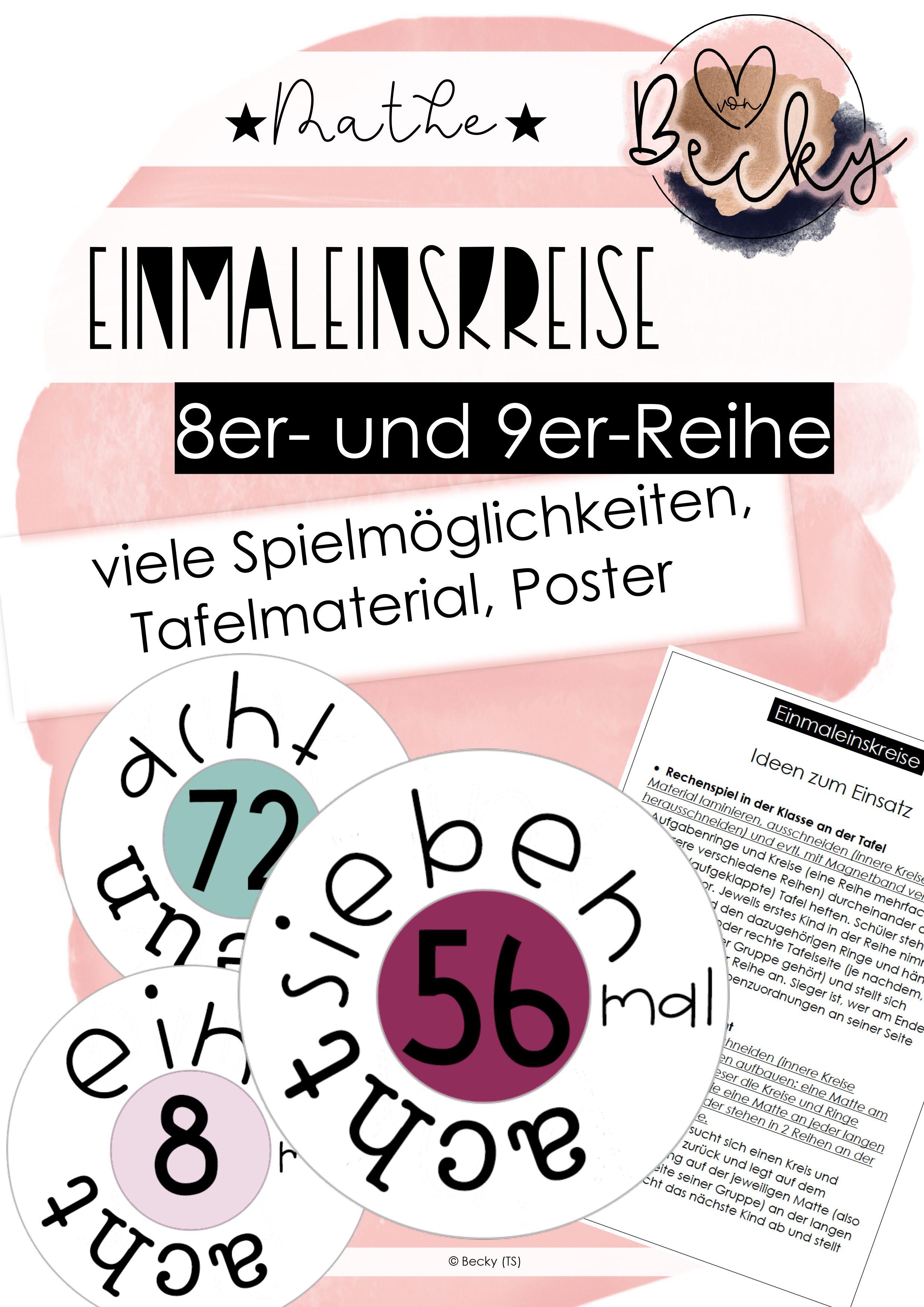 Einmaleins 8er Und 9er Reihe Poster Tafel Spiel