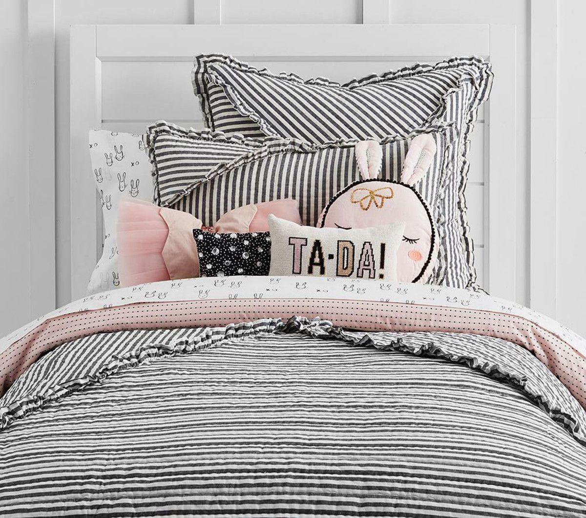 The Emily & Meritt Ruffle Stripe Quilted Bed Linen