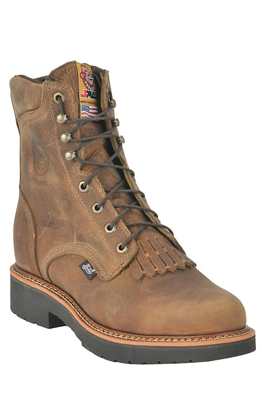 Justin leather work gloves - Justin Men S 8 Rugged Tan J Max Steel Toe Lacer Work Boot