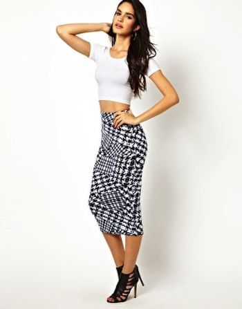 A rad skirt and a sliver of stomach