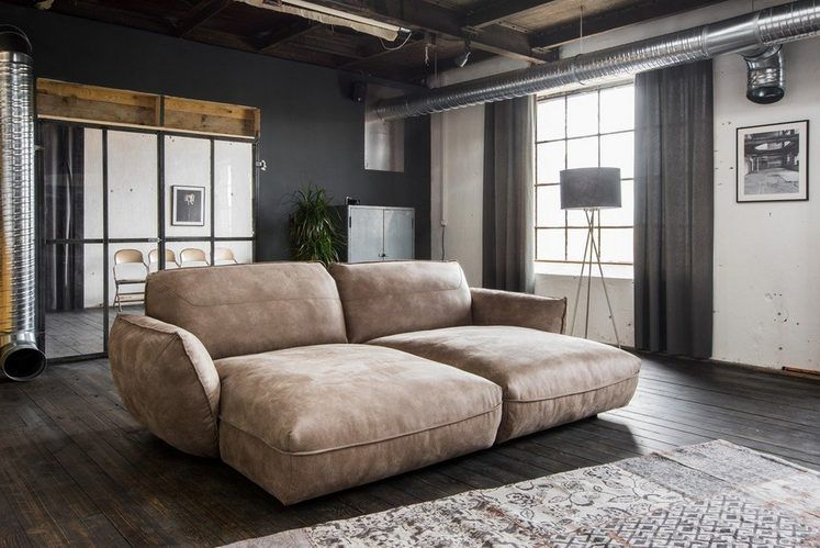 Kasper Wohndesign Big Sofa Longchair Stoff Braun »Davito« Inspired