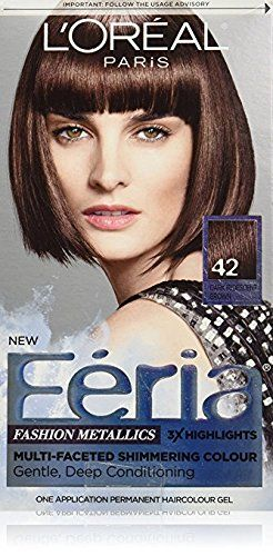 L Oreal Feria Fashion Metallics Hair Color 42 Dark Iridescent Brown Pack Of