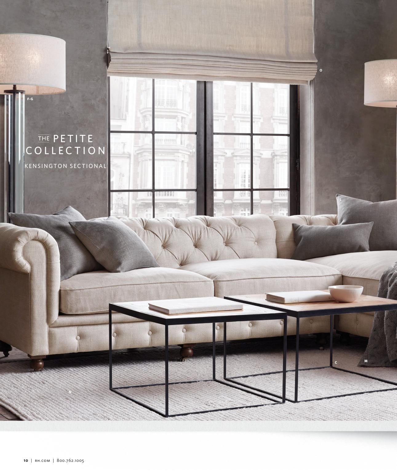 Restoration Hardware Petite Collection Tufted Sectional Quality Living Room Furniture Living Room Sofa Living Room Decor Apartment