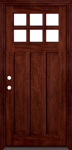 6 Lite Shaker Style Craftsman Mahogany Wood Entry Front Door With Matching Jambs And Brickmould
