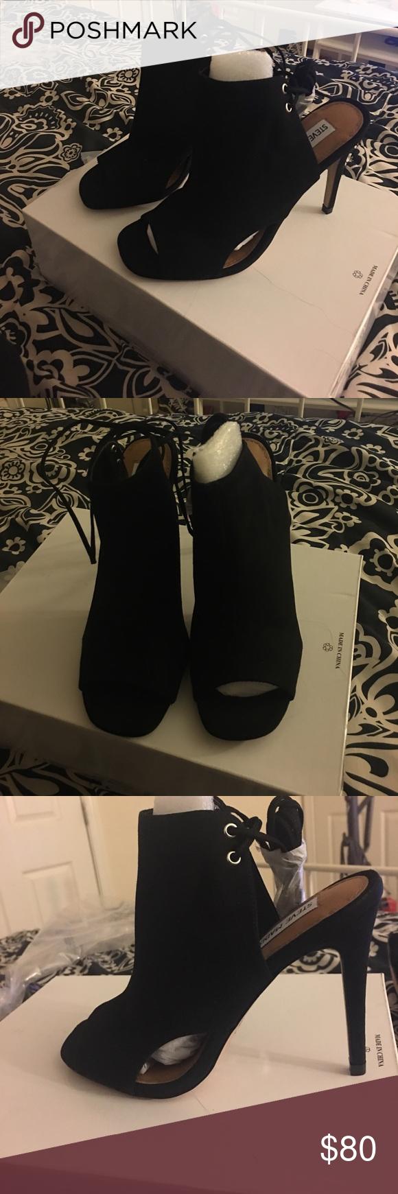 Steve Madden Muddle Steve Madden muddle black suede heels  size 8 never been worn Steve Madden Shoes Heeled Boots