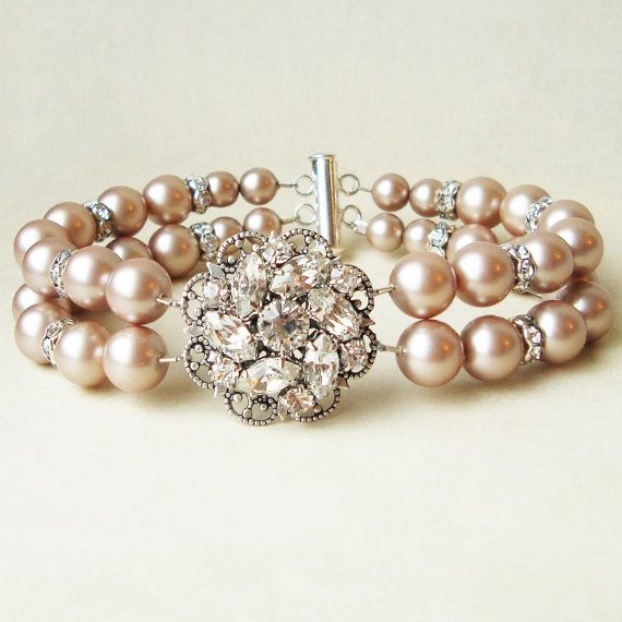 Champagne Pearl Bridal Wedding Bracelet Vintage Style Cuff Silver