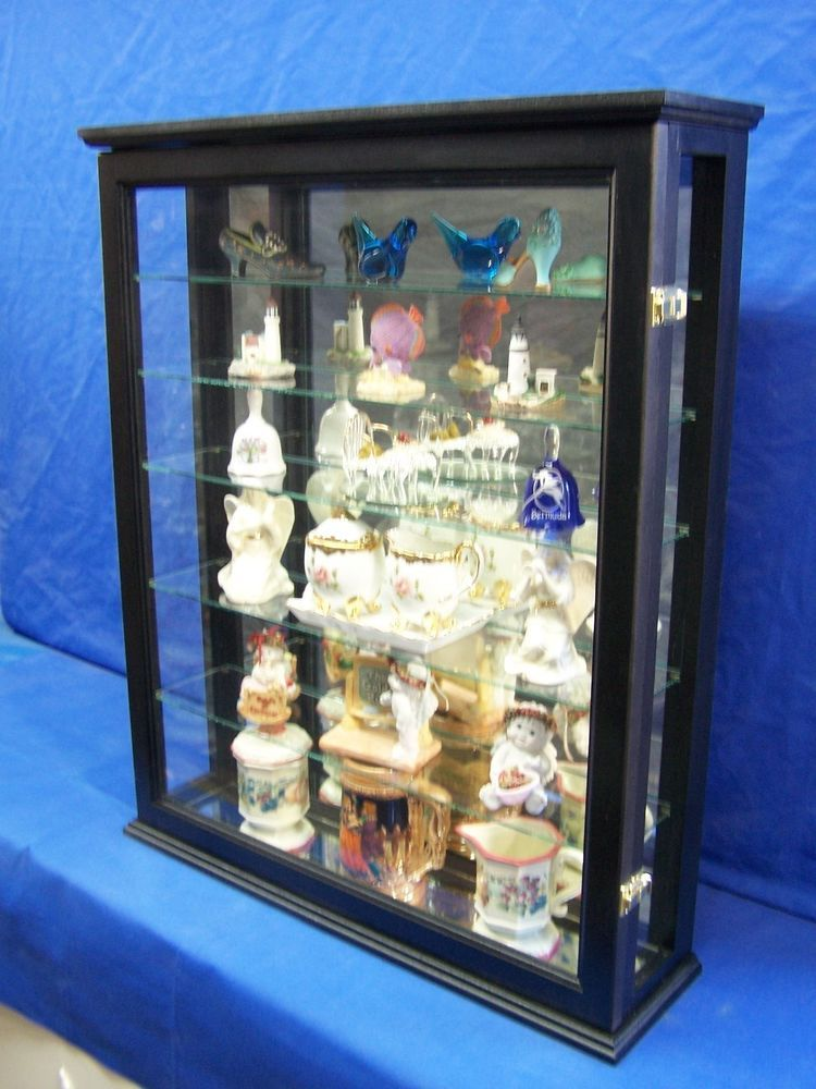 Black Wall Curio Cabinet Handmade Traditional Wood Glass Display #Handmade  #Traditional