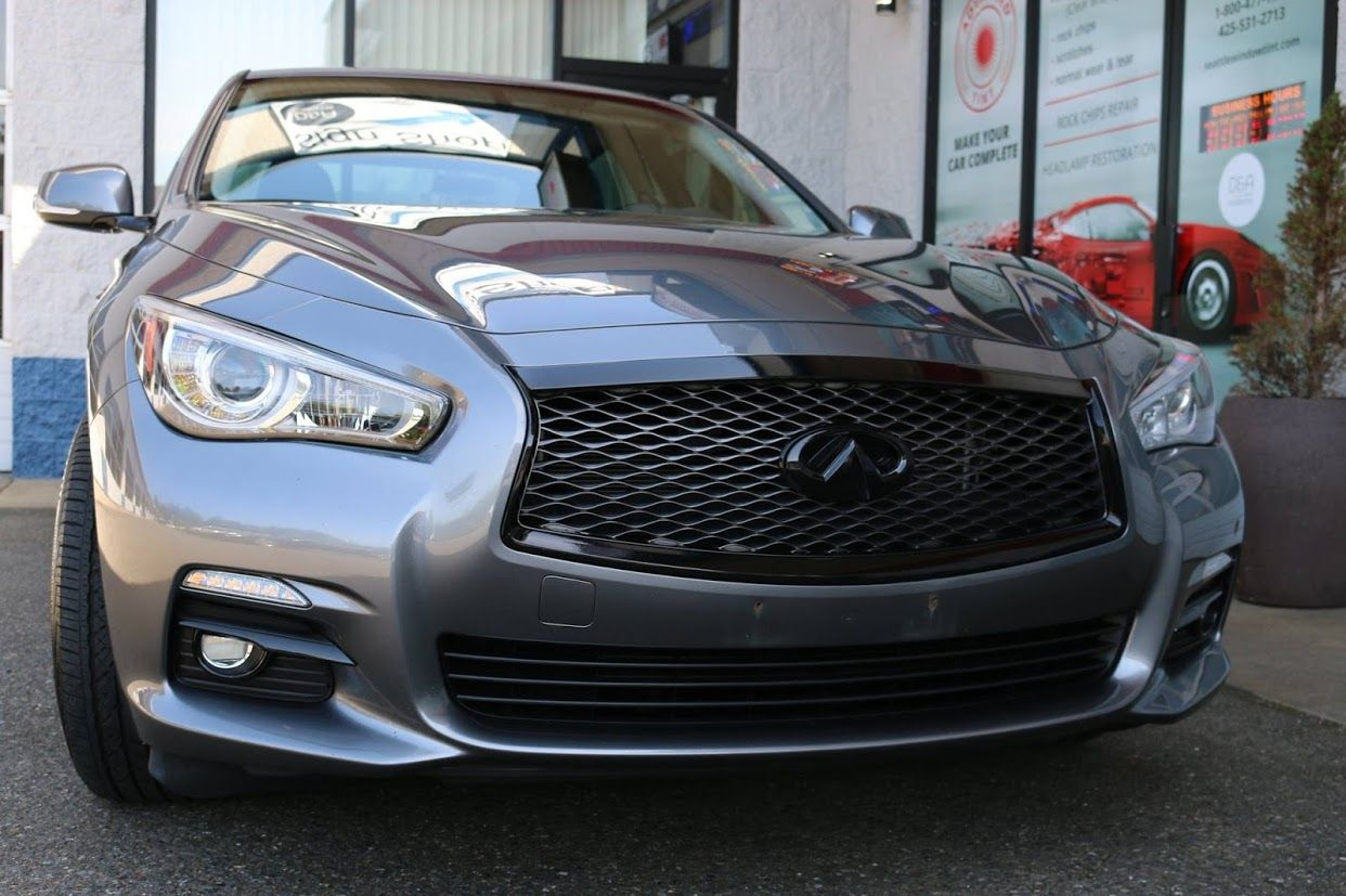 Dechroming overview on Infiniti Q50 . Front grill, fog lights ...
