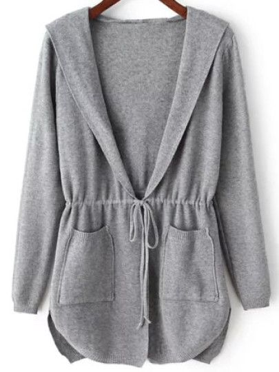 Grey Hooded Long Sleeve Pockets Cardigan | ♡Jackets♡ | Pinterest ...