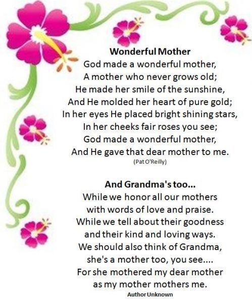 Poems On Mothers Day For Sister Zelma The Joy Of Living Mothers