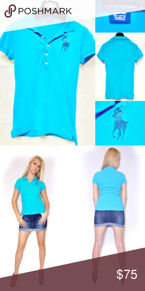 2e46f96869 Ralph Lauren Blue Label Blue Polo Crystal Top A Ralph Lauren Polo is a  wardrobe staple