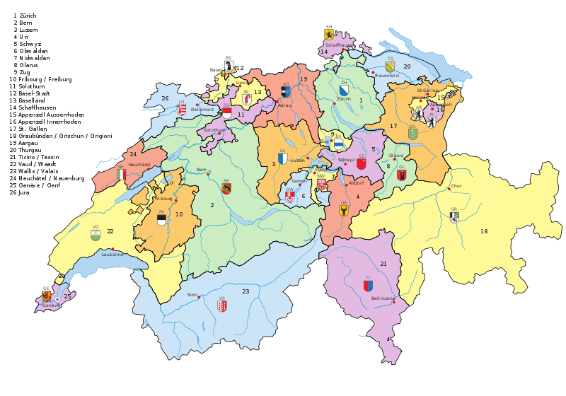 The Swiss Confederation consists of 20 cantons and 6 half cantons