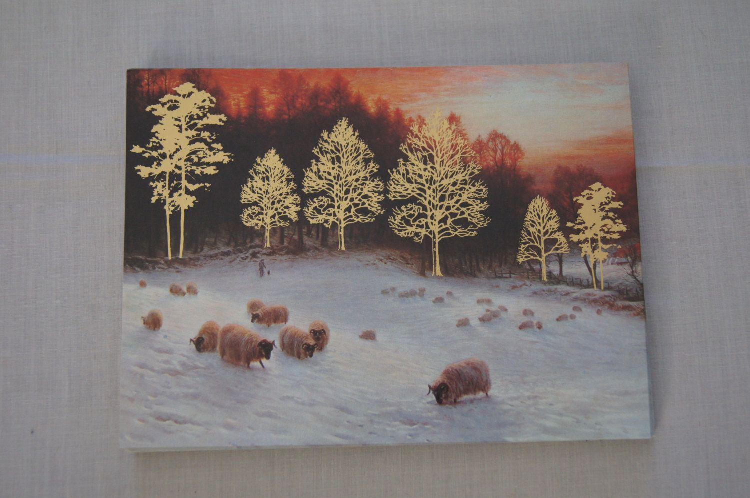 Vintage - burgoyne christmas cards with snowy sheep and gold trees ...