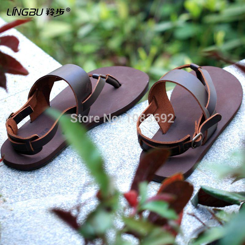 771b4f93 Hombres del cuero genuino sandalias de playa chanclas, hechos a mano estilos  brasileños marca man