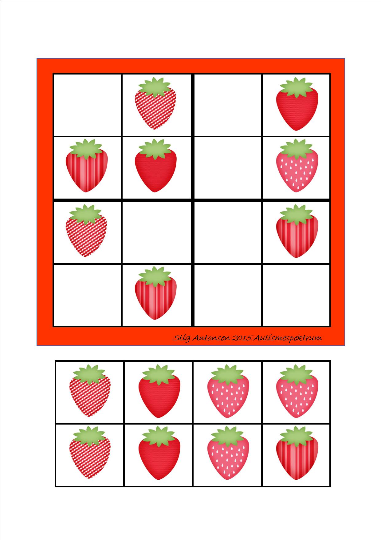 Simple sudoku strawberries - cut and paste. By Autismespektrum ...