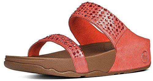 2b41f6b9ee85f4 Womens FitFlop Novy rhinestone Slide Sandals FLAME SHIMMER 11 M ...