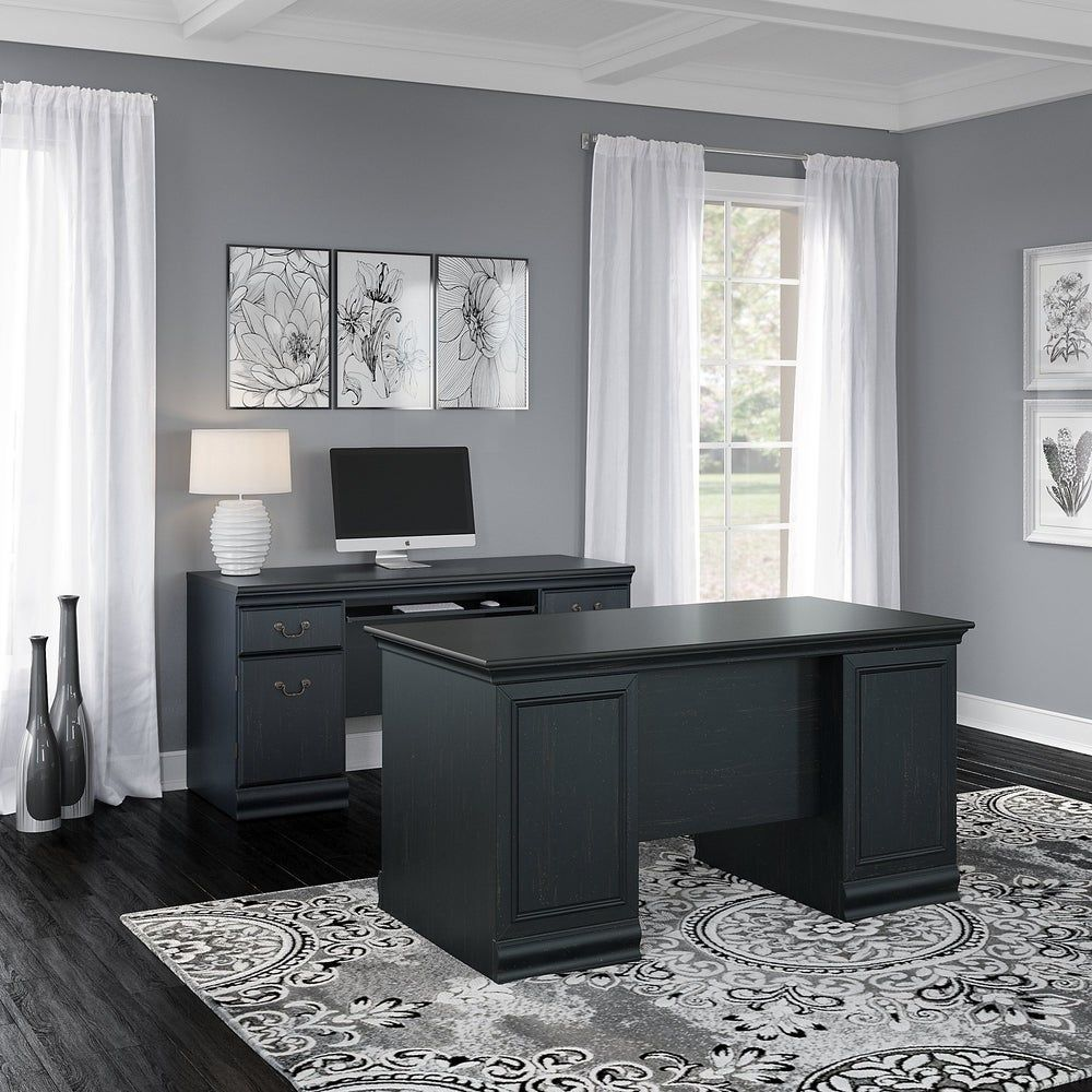 The Copper Grove 60 Inch Executive Desk And Credenza Set Is A Perfect Way To Create An Air Of Sophistication In In 2020 Home Office Design Black Office Furniture Home