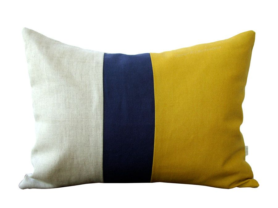 Mustard Colorblock Decorative Pillow Cover With Navy And