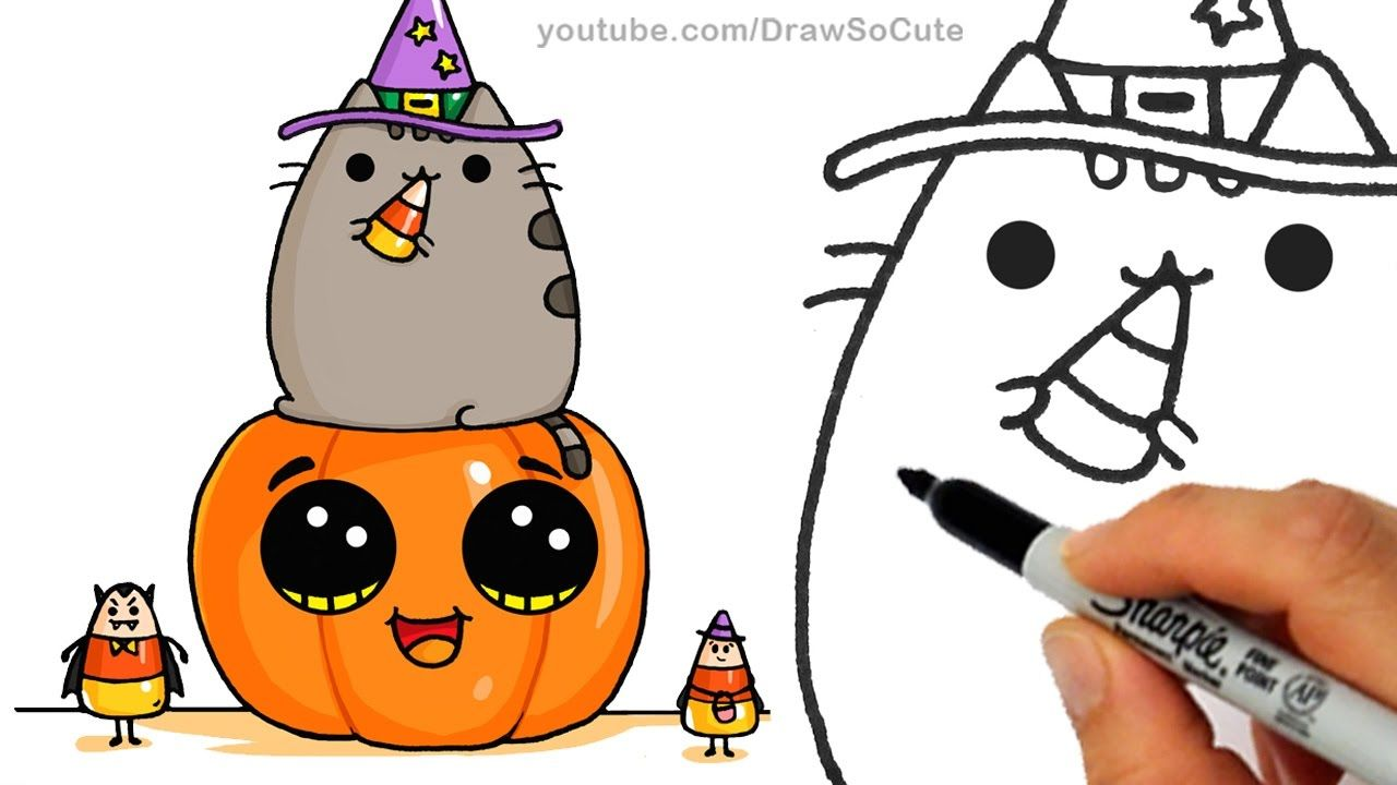 How to draw pusheen cat on pumpkin with candy corn step by step easy halloween youtube