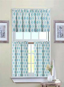 Luxurious Turquoise Geometric Shabby 3 Piece Kitchen Curtain Tier