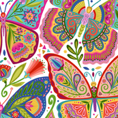 Colorful fabrics digitally printed by Spoonflower - The Girl with the Butterfly Tattoos