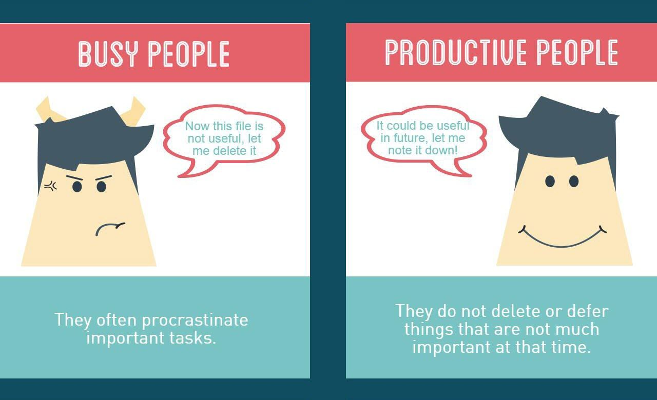 Traits of Productive People and Busy People Infographic