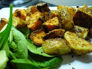 Spicy Garlic Potato Medley        Sweet potatoes and potatoes tossed with a blend of seasoning and baked.  So good it sound like it should be bad for you :)