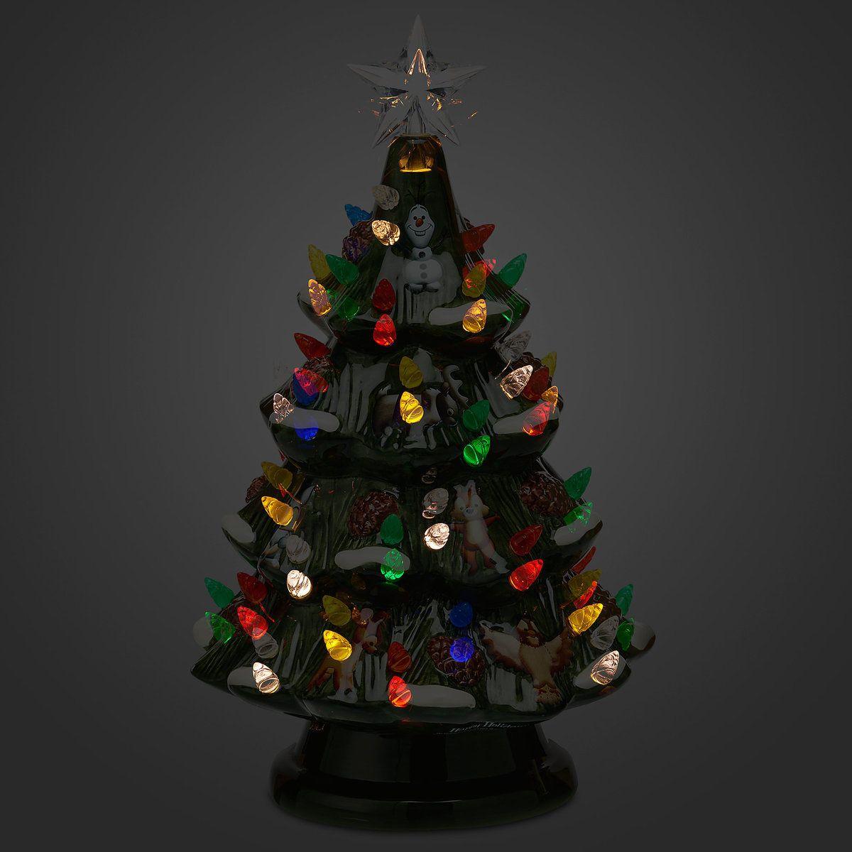 Disney Retro Ceramic Light Up Tree Disney Ornaments Ceramic Light Holiday Throw Pillow