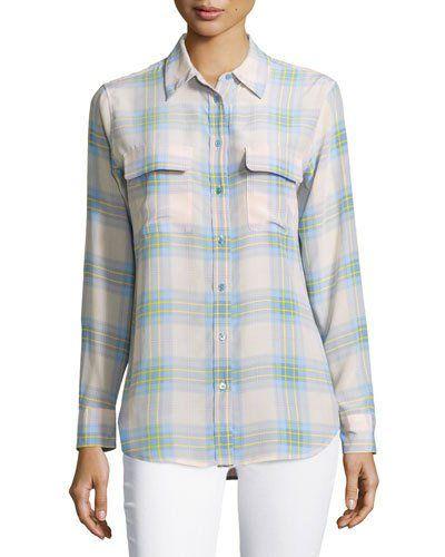 3ef4aef19d48f EQUIPMENT Slim Signature Long-Sleeve Plaid Silk Shirt