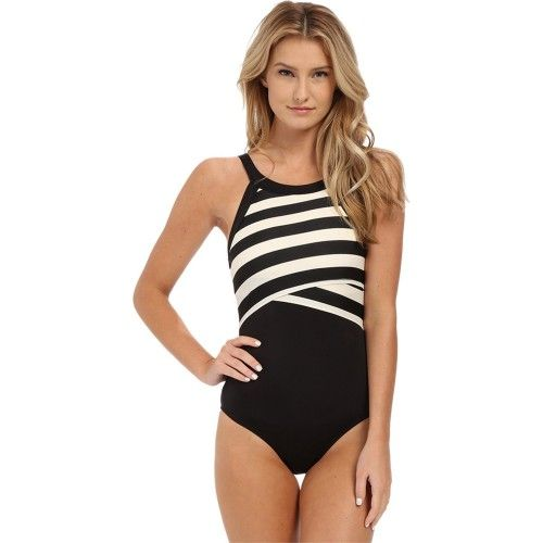 22b16dc1dcf05 DKNY Swim Stripe High Neck Maillot One Piece Black | DKNY Swimwear ...