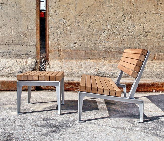 Dachgarten Gartenmoebel Aluminium Eichenholz Set 01b