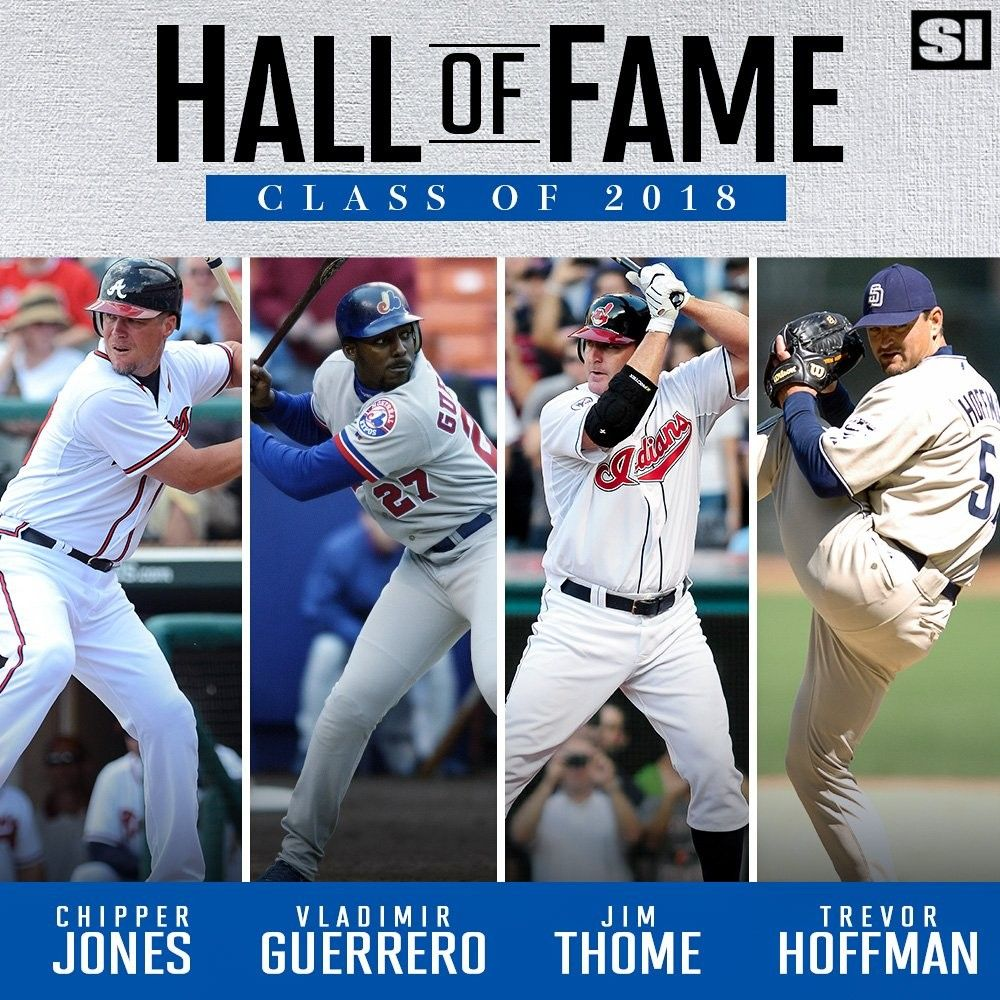 2018 Baseball Hall Of Fame Electees Chipper Jones Vladimir Guerrero Trevor Hoffman Jim Thome Halloffame Cooperstow Chipper Jones Baseball Baseball Uniforms