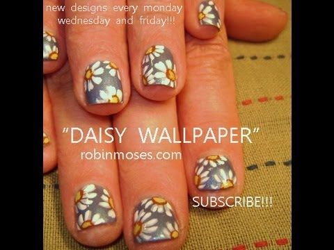 Daisy wallpaper design for short natural nails robin moses nail daisy wallpaper design for short natural nails robin moses nail art design tutorial prinsesfo Images