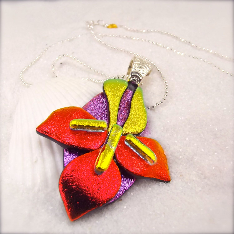 Iris Flower Jewelry Dichroic Glass Iris Iris Necklace Iris Pendant