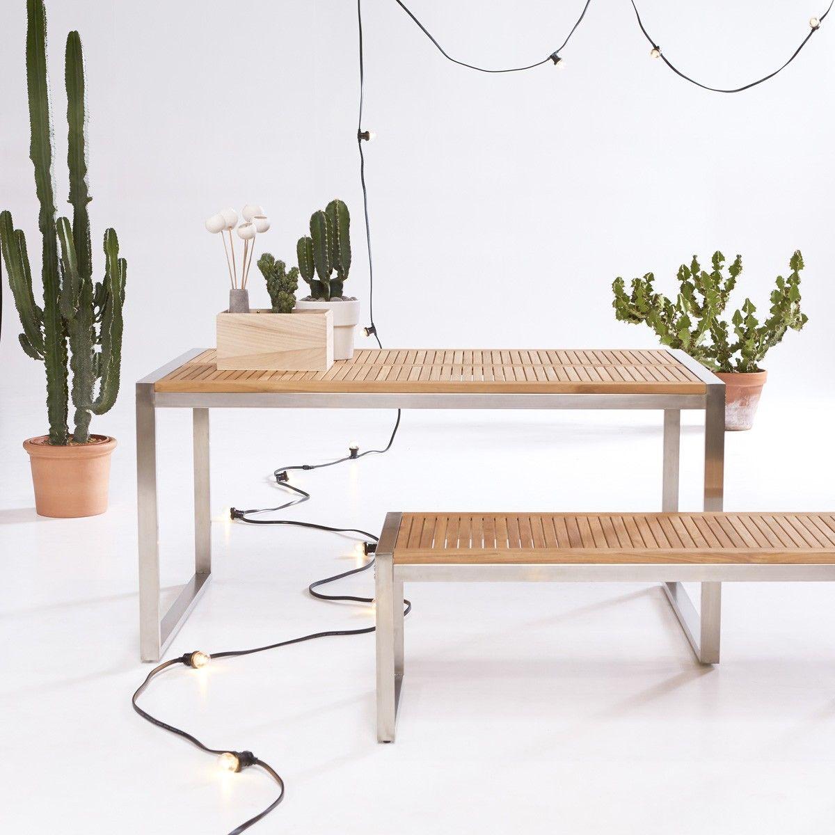 Salon De Jardin Teca Y Acero Inoxidable Arno In 2020 Teak Outdoor Tikamoon Teak Outdoor Furniture