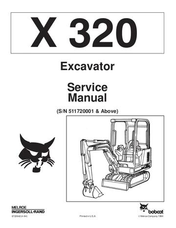 Bobcat X320 Hydraulic Excavator Service Repair Manual
