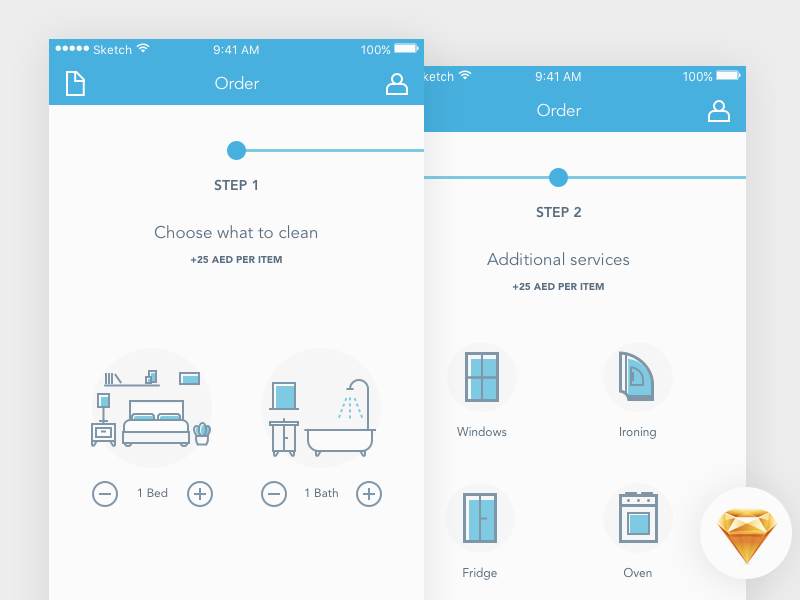 Cleaning App Order Process Design freebie, Free icons, App