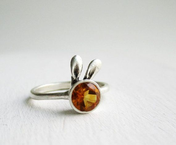 Sterling Silver Amber Bunny Ring