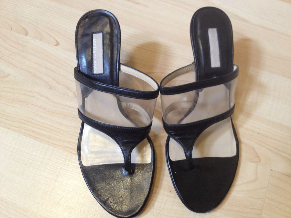 1f2d151d3d03 MICHAEL KORS  280 KITTEN HEEL BLACK   CLEAR LEATHER THONG SANDAL SIZE 5   fashion  clothing  shoes  accessories  womensshoes  sandals (ebay link)