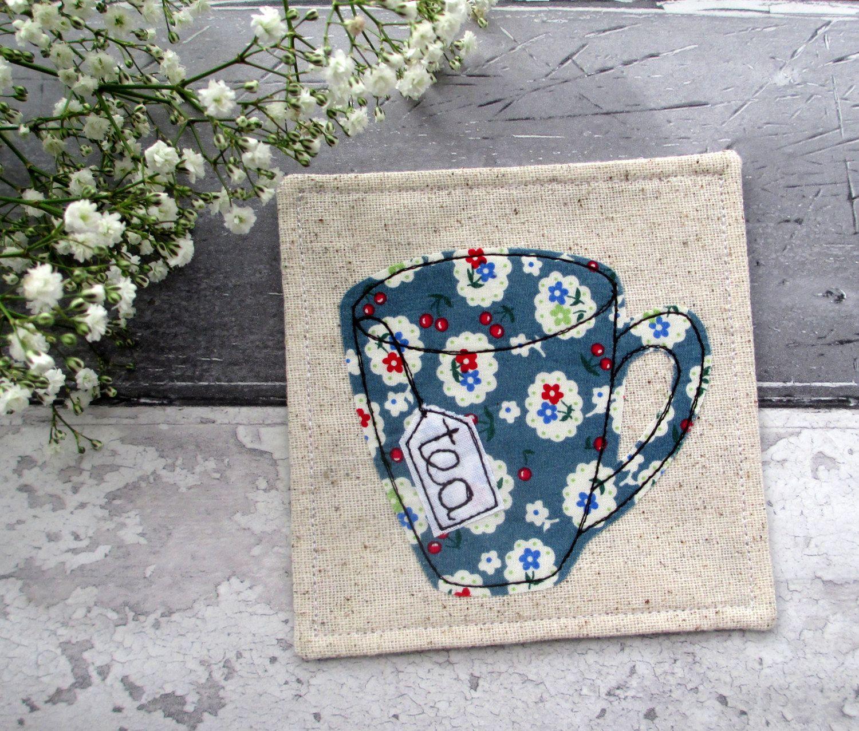 Coaster, Fabric Coaster, Tea Lovers Gift, Tea Coaster, Blue Coaster, Gift For Her, Fabric Gift, Gift For A Tea Lover, Desk Coaster by TheCornishCoasterCo on Etsy