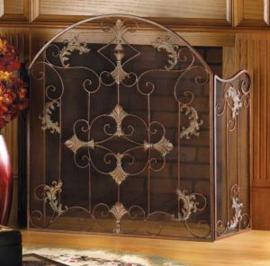 Wrought Iron Florentine Italian Fireplace Mesh Screen