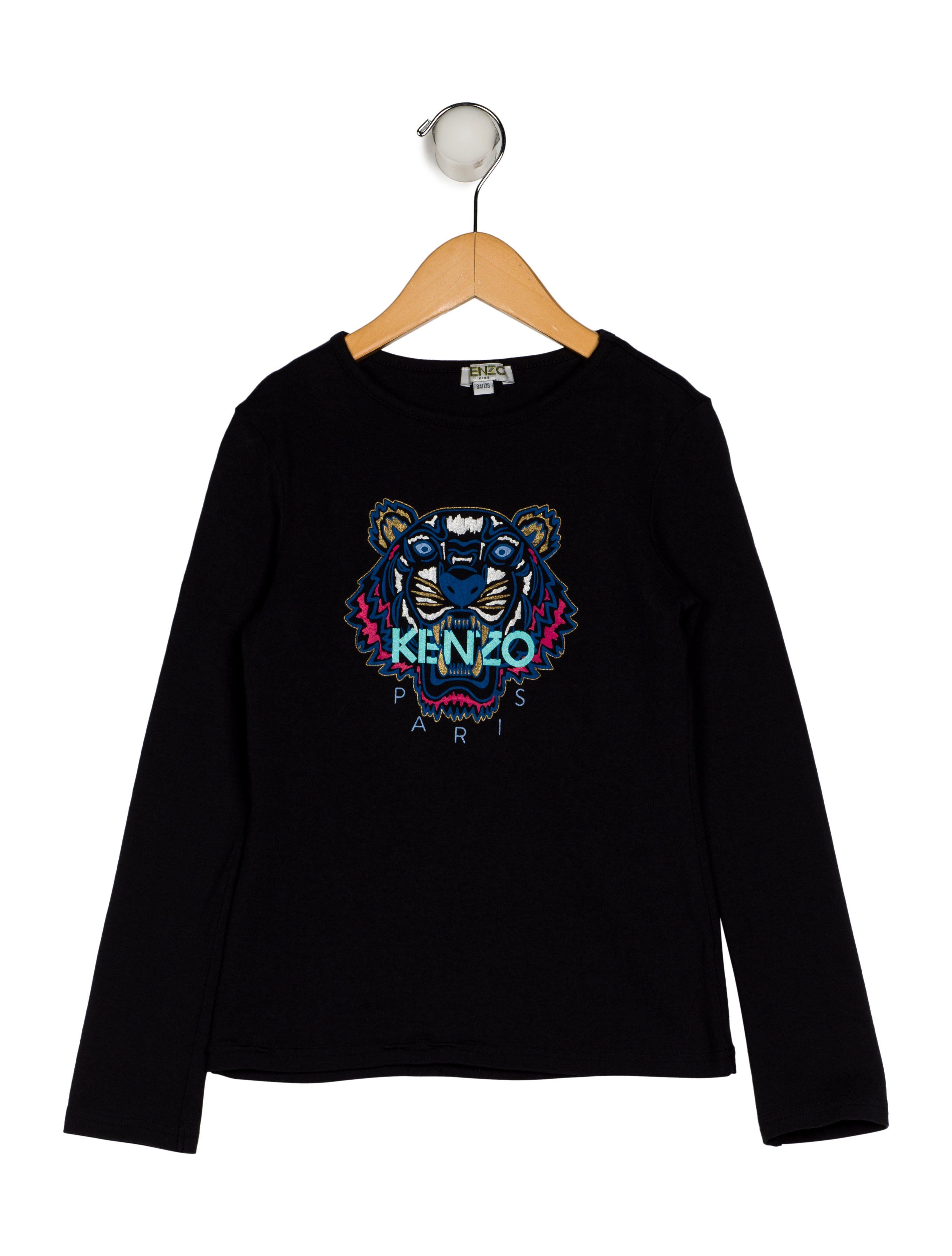 45a3587823a2 Girls' black and multicolor Kenzo Kids top with tiger print at front, crew  neck and long sleeves. Machine washable. Unfortunately, due to  restrictions, th