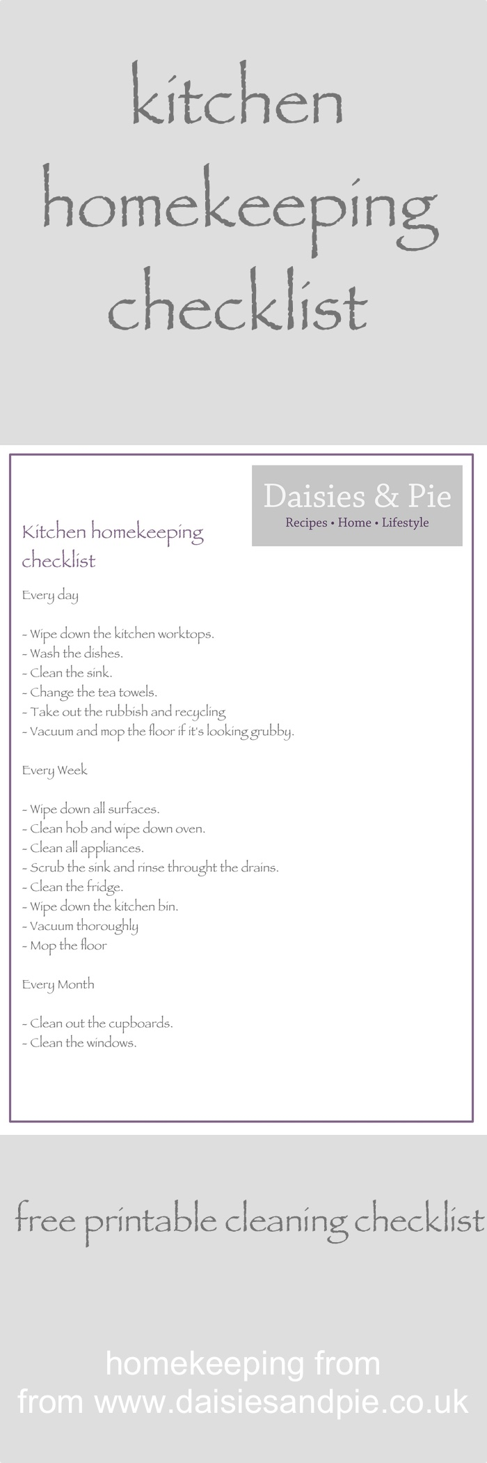 Kitchen homekeeping – daily, weekly and monthly | Pinterest ...