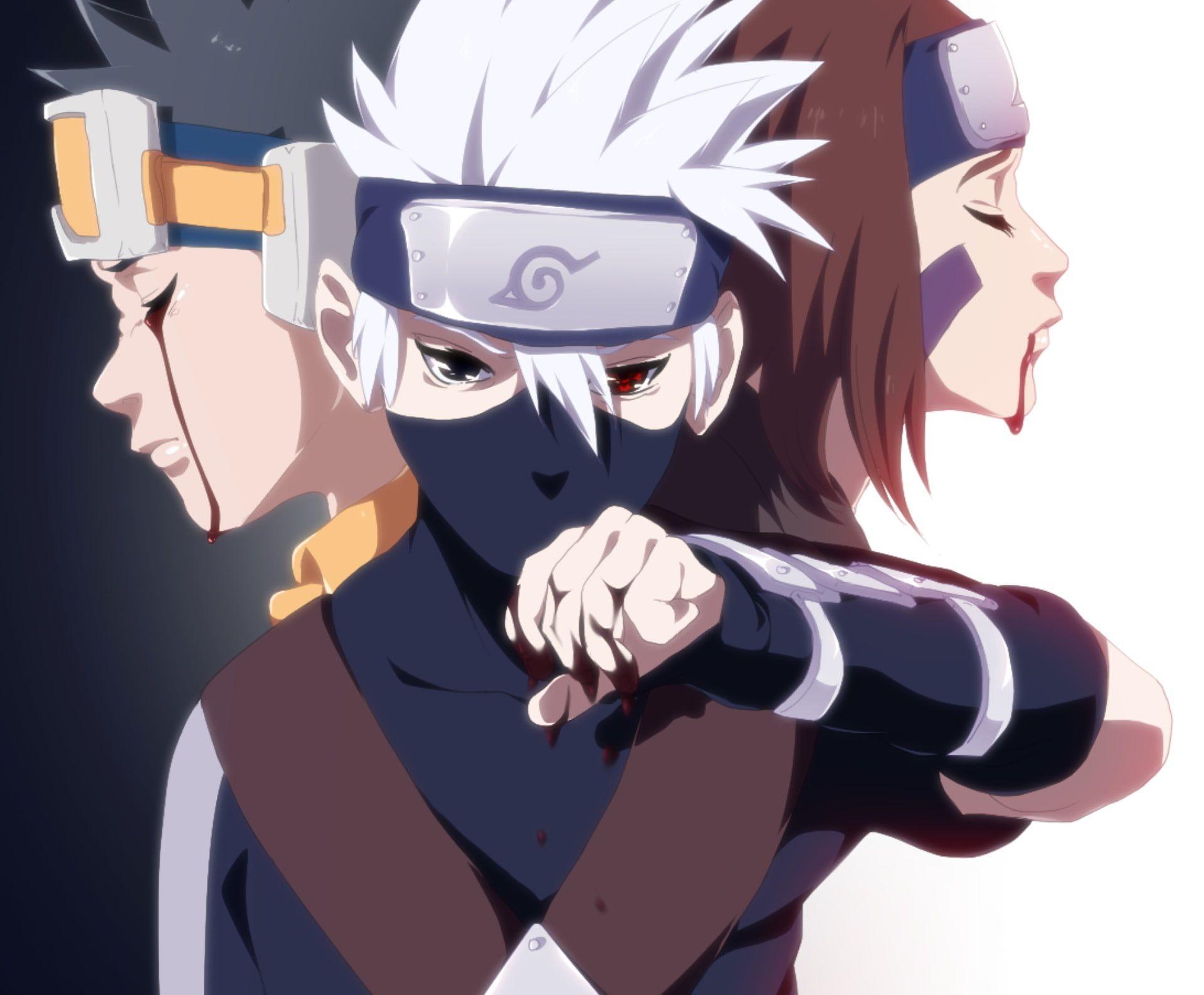 Anime Naruto Kakashi Hatake Obito Uchiha Rin Nohara 1080p Wallpaper Hdwallpaper Desktop Kakashi Hatake Naruto Fan Art Kakashi