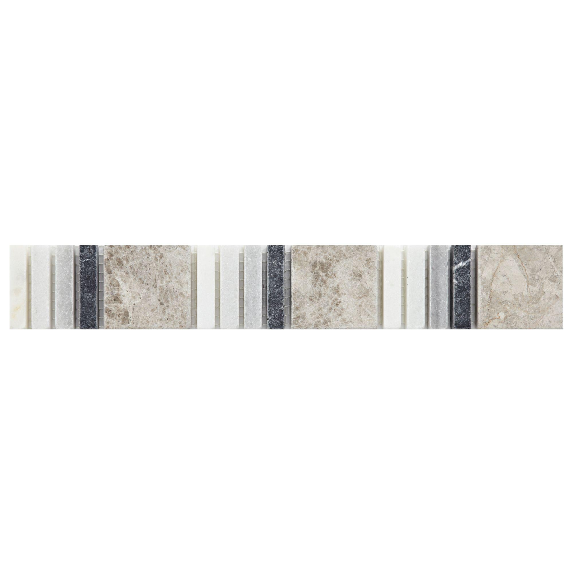 Black, White & Grey Mosaic Marble Border Tile, (L)305mm (W)48mm ...