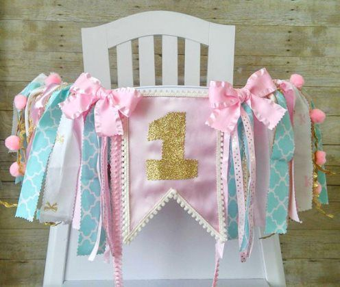 Aqua Pink Amp Gold First Birthday Party High Chair Banner