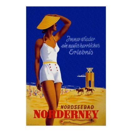 #Norderney Germany Vintage Travel Poster - #travel #trip #journey #tour #voyage #vacationtrip #vaction #traveling #travelling #gifts #giftideas #idea