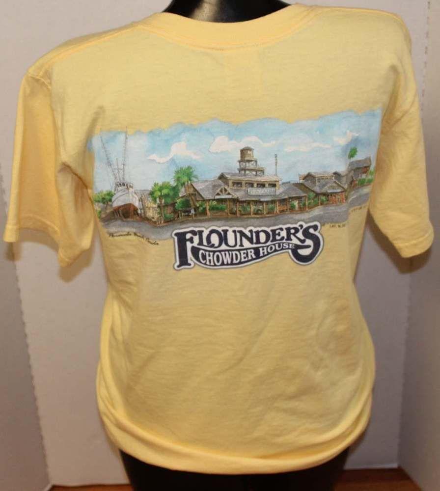 Flounder S Chowder House Beach T Shirt Pensacola Florida Gildan Tee Yellow Graphictee