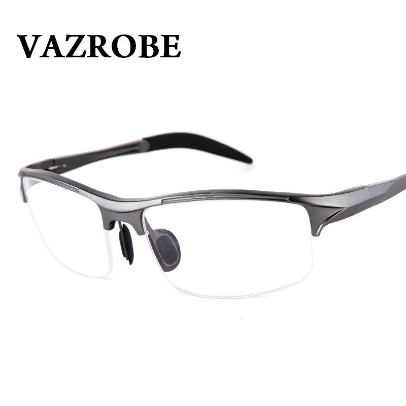 b325ad44636 sale vazrobe 146mm aluminum magnesium eyeglasses frame men spring hinge eye  glasses frames for male  half  rim  glasses