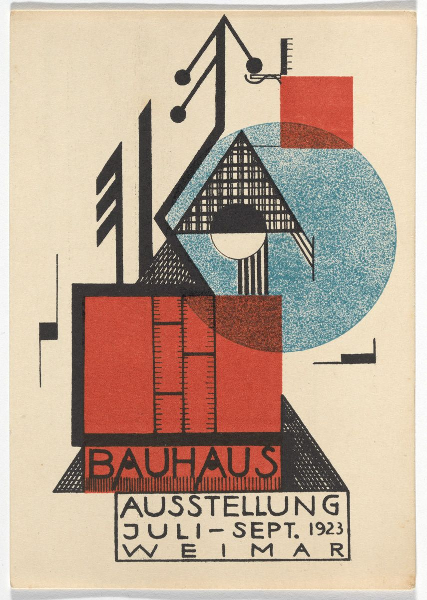 the exuberant postcard art of the first bauhaus exhibition. Black Bedroom Furniture Sets. Home Design Ideas